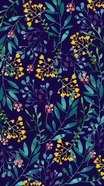 Mobile background with yellow watercolor flowers Free Vector