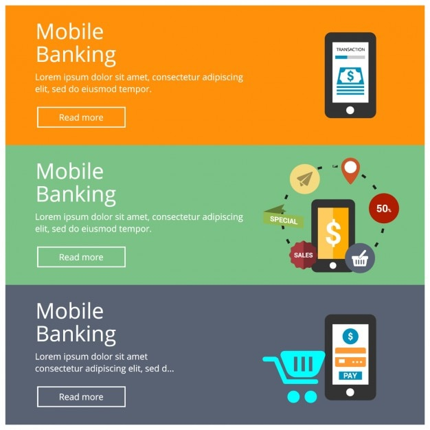 Mobile Banking Banner Colecction Vector | Free Download