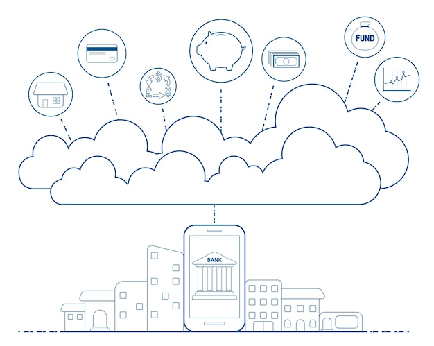 Mobile banking concept with cloud technology Premium Vector
