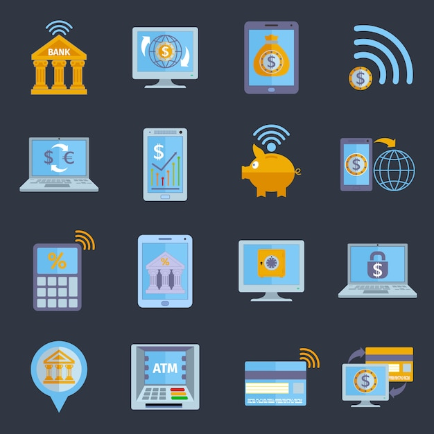 Mobile banking icons Free Vector