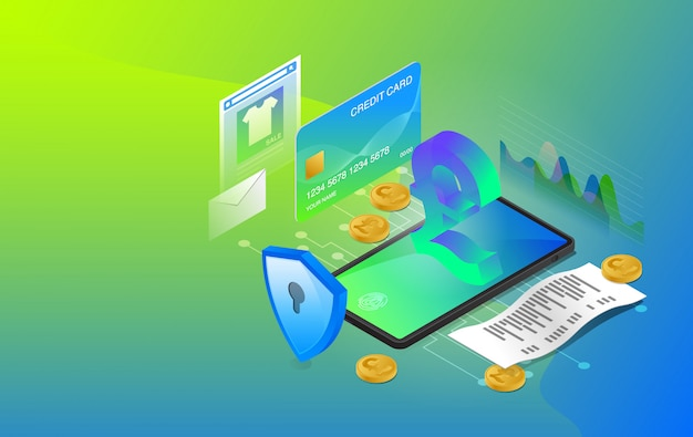 Mobile banking, online banking, e-banking system, online payment system, use mobile banking application, premium vector Premium Vector