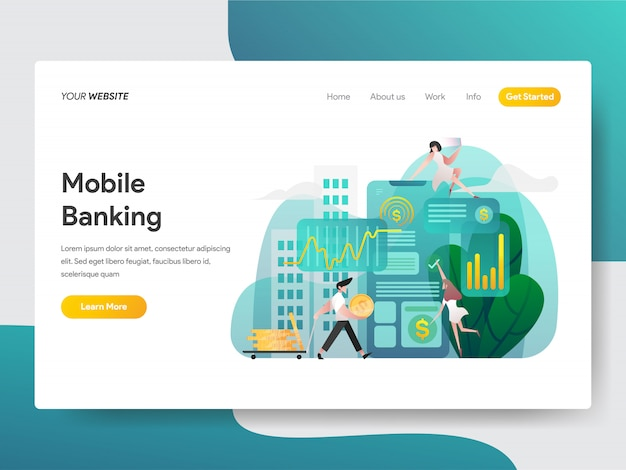 Mobile banking for web page Premium Vector