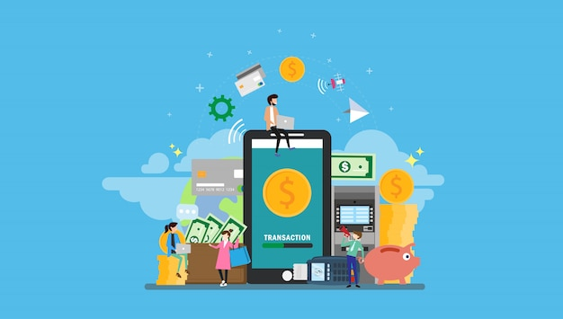 Mobile banking with tiny people Premium Vector