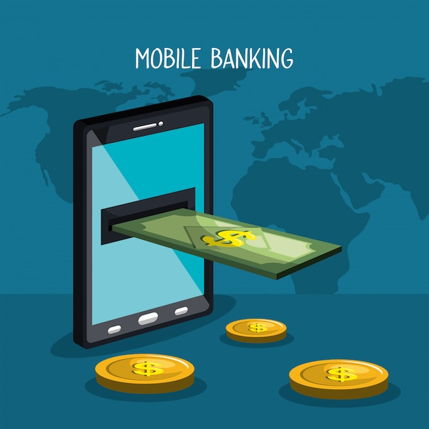 Mobile banking Free Vector
