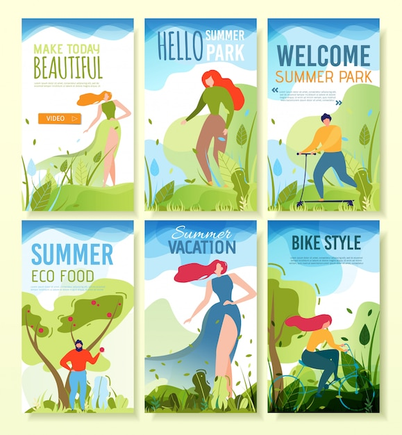 Mobile banners with summer greeting, invitation. Premium Vector