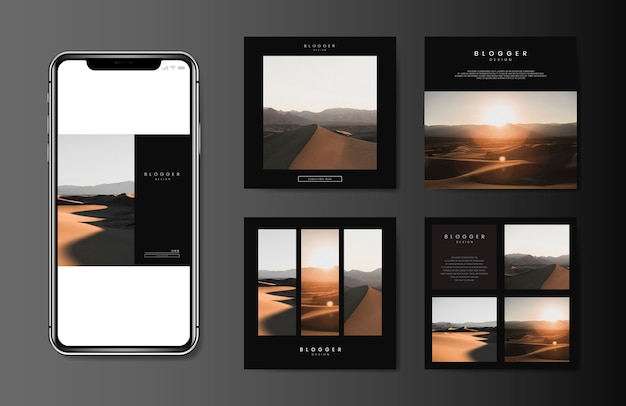 Mobile blog template Free Vector