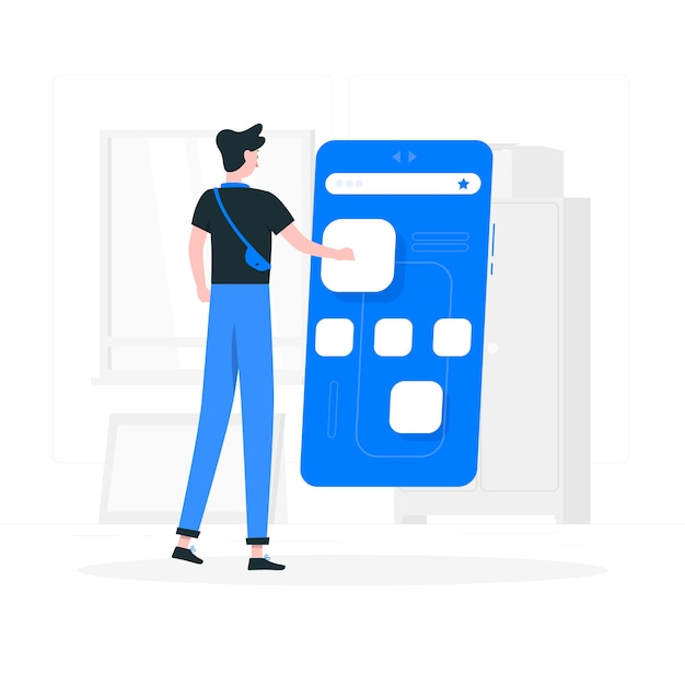 Иллюстрация концепции мобильных браузеров Бесплатные векторы