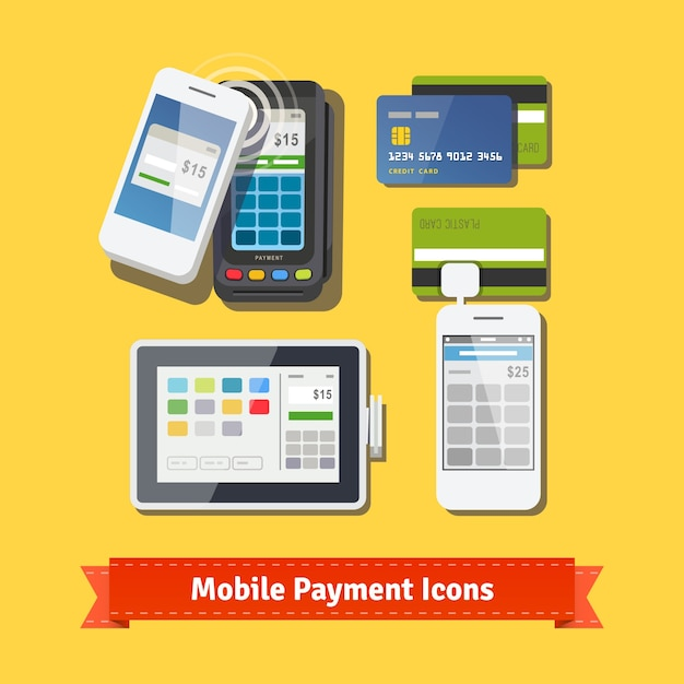Mobile business payment flat icon set Free Vector