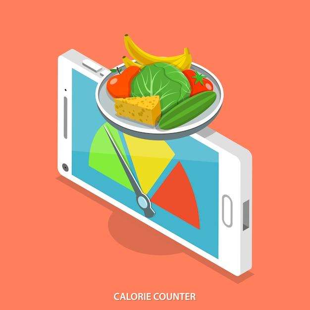 Mobile calorie counter. Premium Vector