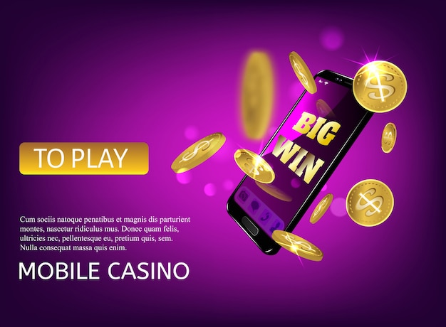 Premium Vector | Mobile casino slot game. flying phone marketing background  for casino jackpot slots machine