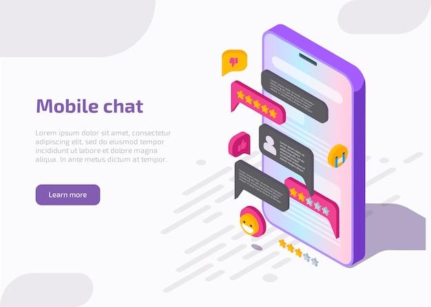 Интерфейс приложения мобильного чата на экране смартфона с сообщением, смайликами, речевыми пузырями в диалоге. Бесплатные векторы