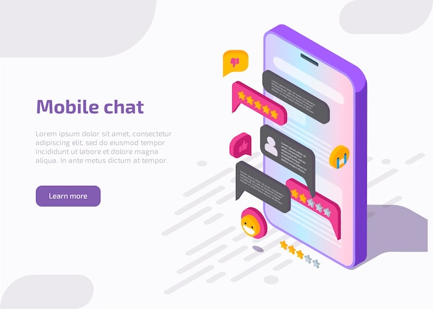Mobile chat application interface on smartphone screen with message, emoji, speech bubbles in dialog. Free Vector