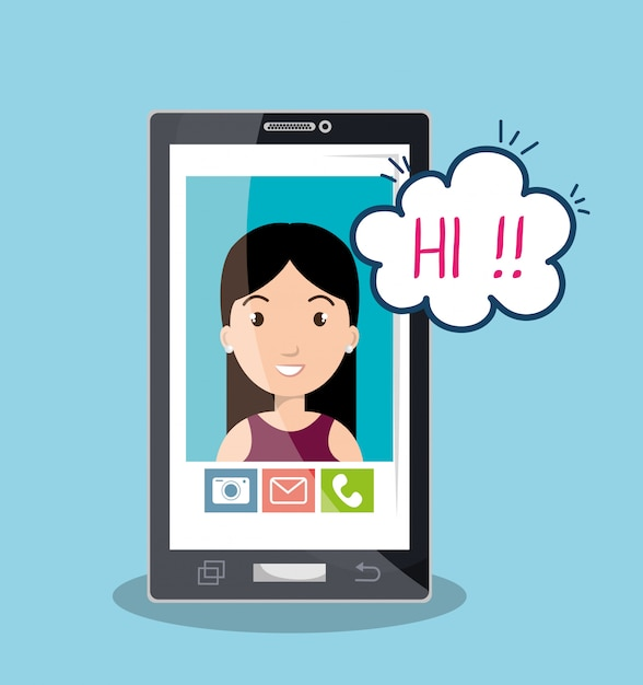Mobile chat design Premium Vector