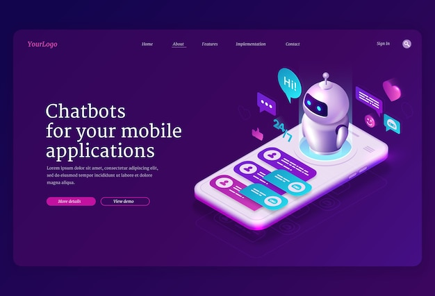 モバイルチャットボットアプリのアイソメトリックランディングページ、smsメッセージング用のアプリケーション 無料ベクター