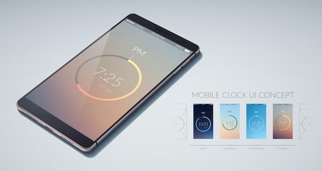 ライトフラットイラストのモバイル時計カラフルなuiデザインコンセプト 無料ベクター