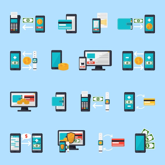 Mobile commerce icon set Free Vector