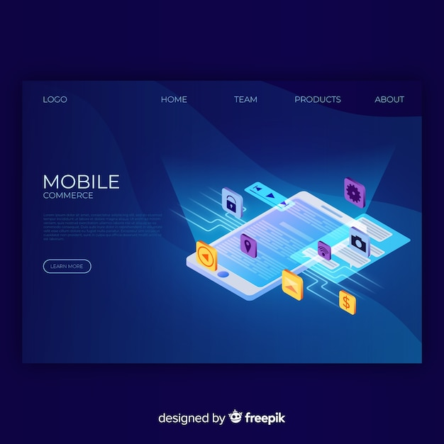 Mobile commerce landing page Free Vector