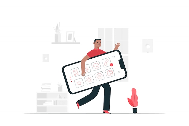 Mobile concept illustration Free Vector