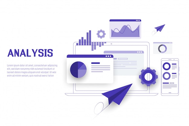 Mobile data analysis, research, planning and statistics Premium Vector