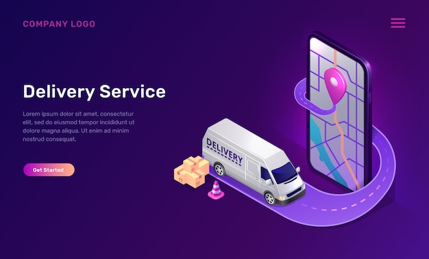 Mobile delivery service online app isometric Free Vector