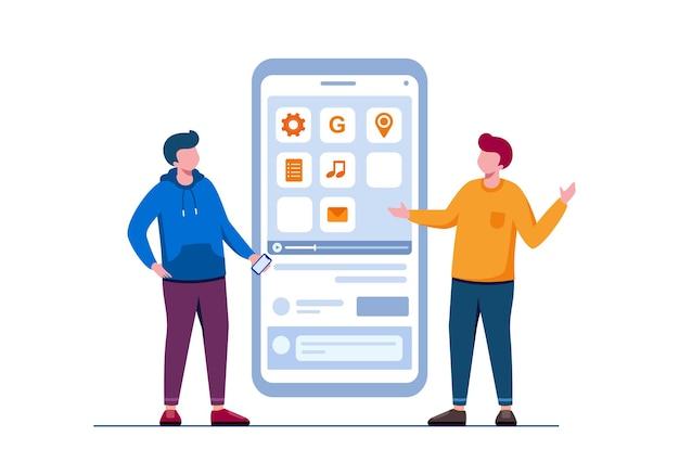 Mobile developer and programmer flat vector illustration for banner and landing page