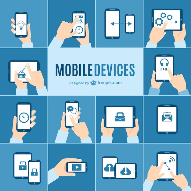 Mobile devices elements Free Vector