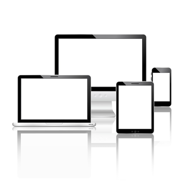 Mobile devices set Free Vector