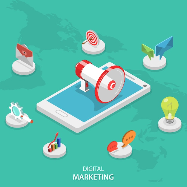 Mobile digital marketing campaign. Premium Vector