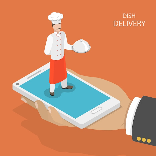 Mobile dish fast delivery. Premium Vector