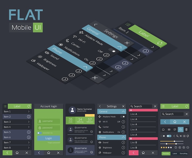 Mobile flat ui design template with different screens icons buttons and elements for mobile application Free Vector