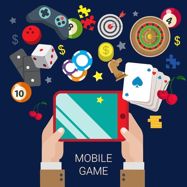 모바일 도박 온라인 카지노 비디오 게임 태블릿 콘솔 플레이 무료 벡터