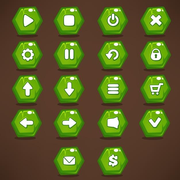モバイルゲームのui、明るい、輝く、漫画の緑色のアイコンのコレクション、およびボタン Premiumベクター