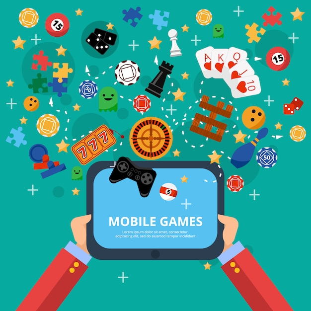 Mobile games entertainment poster Free Vector