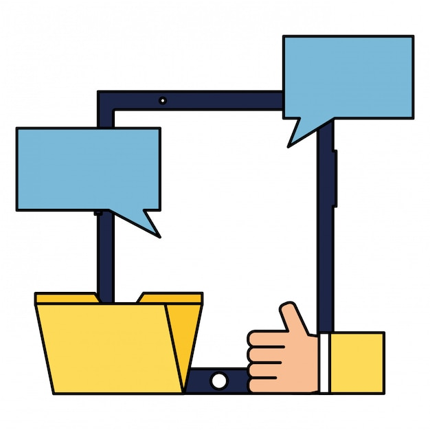 Mobile hand like email chat social media Premium Vector