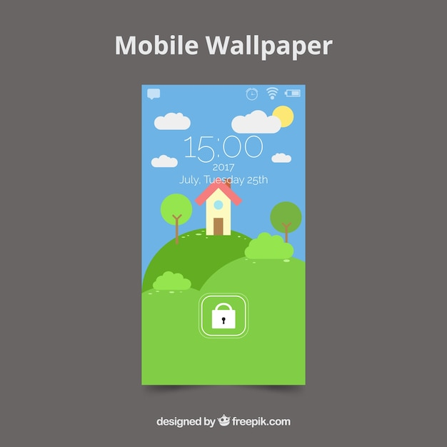 Mobile home background on the field in flat design