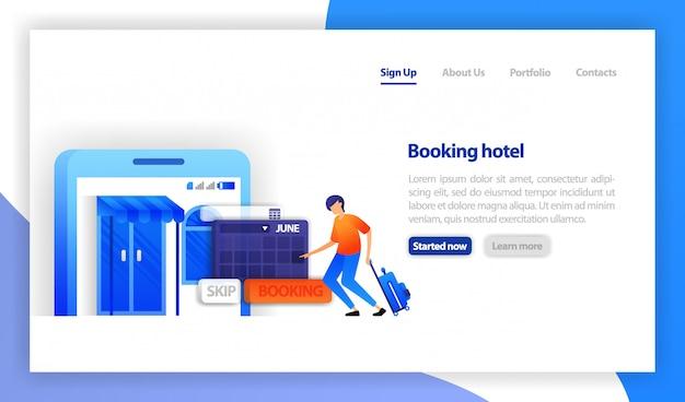 Mobile hotel reservation apps Premium Vector
