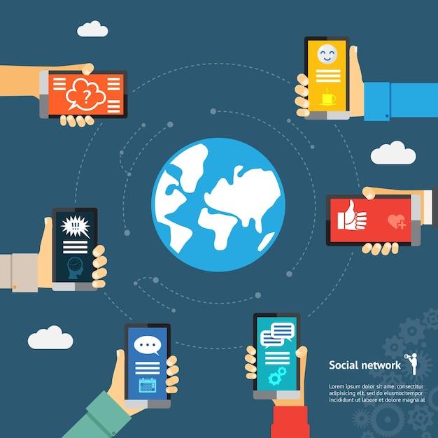 Concetto di rete del globo di messaggistica istantanea mobile. Vettore gratuito