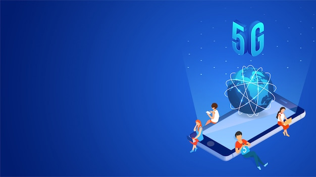 Mobile internet 5g network service concept. Premium Vector