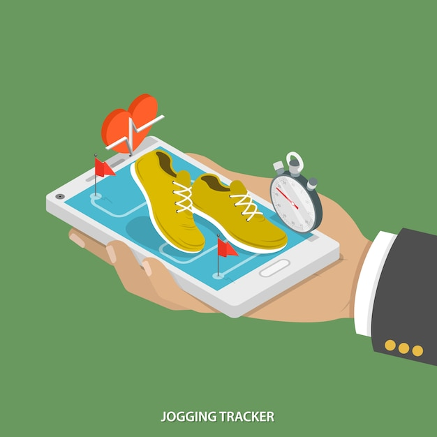 Mobile jogging tracker. Premium Vector