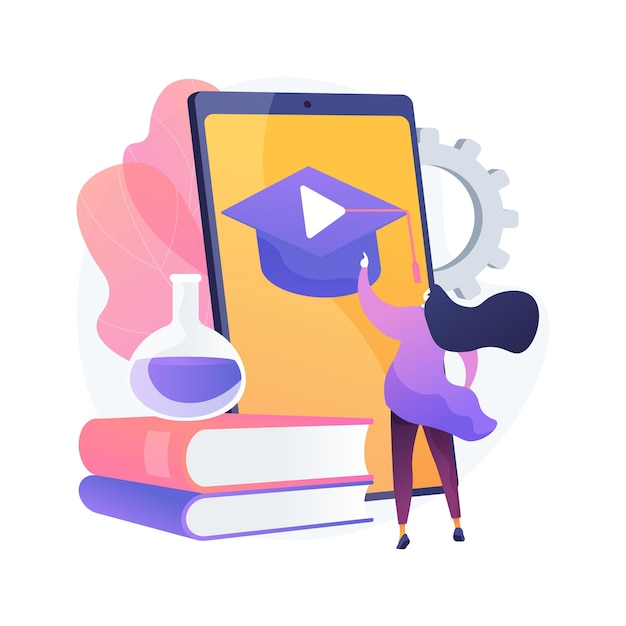 モバイル学習抽象的な概念図。 mラーニングアプリケーション、ポータブルデバイス、教育動向、課題、個別計画、グループレッスン、即時フィードバック 無料ベクター