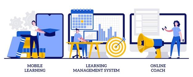 모바일 학습 응용 프로그램, 작은 사람들 일러스트와 함께 온라인 코치 개념 프리미엄 벡터