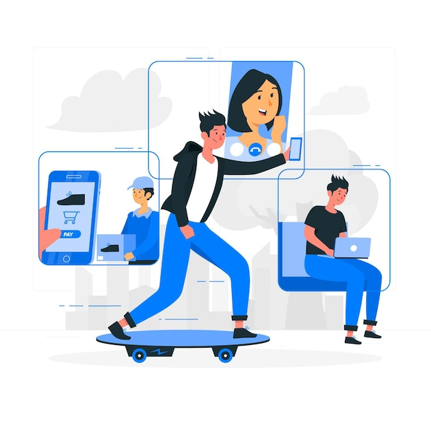 Mobile life concept illustration Free Vector