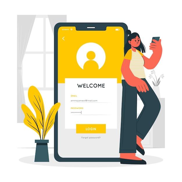 Mobile login concept illustration Free Vector