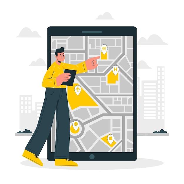 Illustrazione di concetto di mappa mobile Vettore gratuito