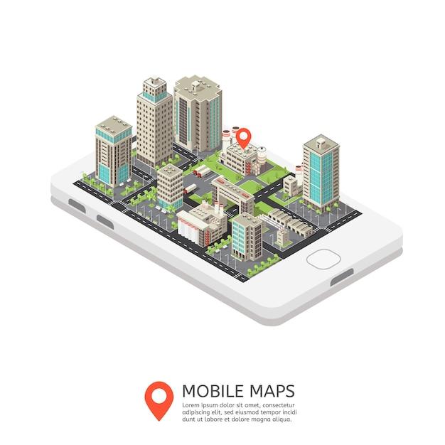 Illustrazione isometrica di mappe mobili Vettore gratuito