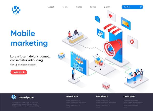Изометрическая целевая страница агентства мобильного маркетинга Premium векторы