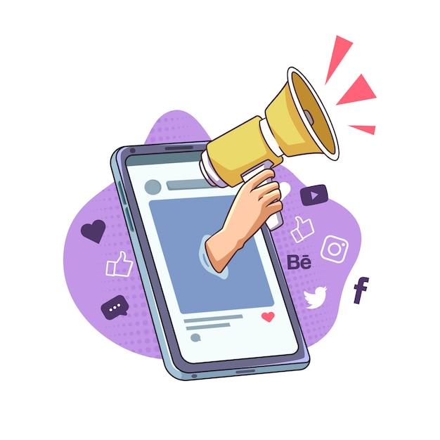 Stile isometrico di mobile marketing Vettore gratuito