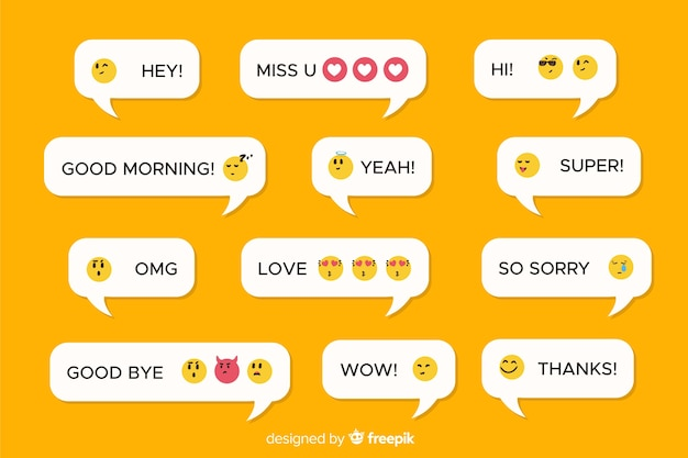 Mobile messages with different emojis Free Vector