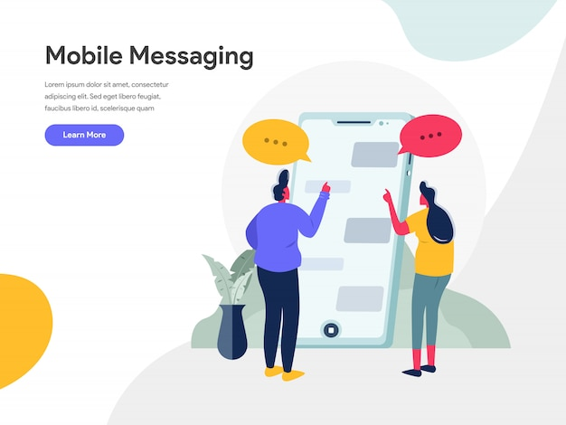 Mobile messaging illustration concept Premium Vector