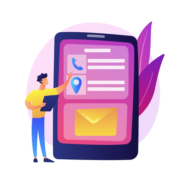 Mobile messaging. modern communication technology, online chatting, sms texting. modern leisure activity. guy checking email inbox with smartphone. Free Vector